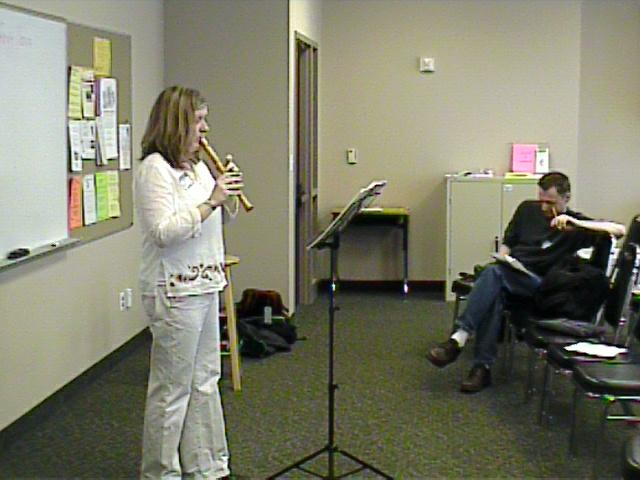 Jennifer Carpenter performs during her lesson. [Dallas Recorder Society workshop and concert with the Amsterdam Loeki Stardust Recorder Quartet - Dallas, TX, Feb. 28-29, 2004]