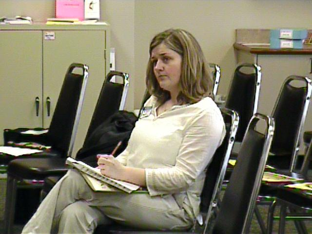 Jennifer Carpenter takes notes. [Dallas Recorder Society workshop and concert with the Amsterdam Loeki Stardust Recorder Quartet - Dallas, TX, Feb. 28-29, 2004]
