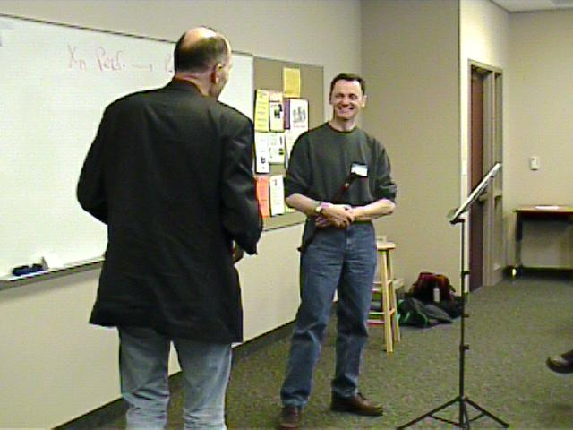 Bertho Driever instructs Cornell Kinderknecht. [Dallas Recorder Society workshop and concert with the Amsterdam Loeki Stardust Recorder Quartet - Dallas, TX, Feb. 28-29, 2004]