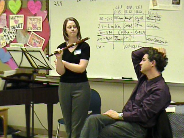 Kimberly Sato and Daniel Bruggen ponder the music at hand. [Dallas Recorder Society workshop and concert with the Amsterdam Loeki Stardust Recorder Quartet - Dallas, TX, Feb. 28-29, 2004]