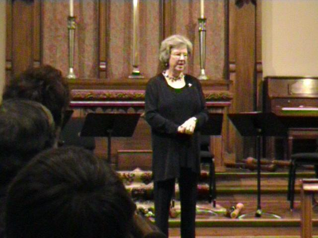 Susan Poelchau introduces the Amsterdam Loeki Stardust Quartet at the concert. [Dallas Recorder Society workshop and concert with the Amsterdam Loeki Stardust Recorder Quartet - Dallas, TX, Feb. 28-29, 2004]