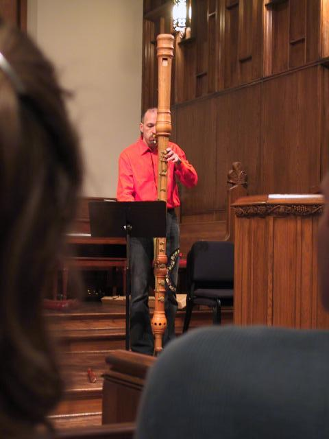 Bertho Driever plays the sub-contrabass recorder. [Dallas Recorder Society workshop and concert with the Amsterdam Loeki Stardust Recorder Quartet - Dallas, TX, Feb. 28-29, 2004]