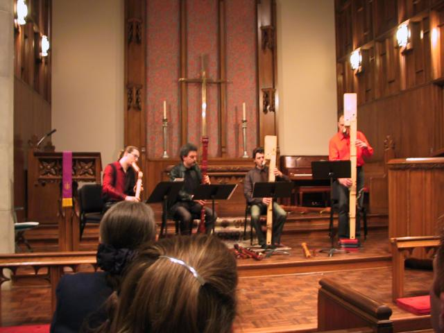 The Amsterdam Loeki Stardust Quartet performing on low recorder consort. [Dallas Recorder Society workshop and concert with the Amsterdam Loeki Stardust Recorder Quartet - Dallas, TX, Feb. 28-29, 2004]