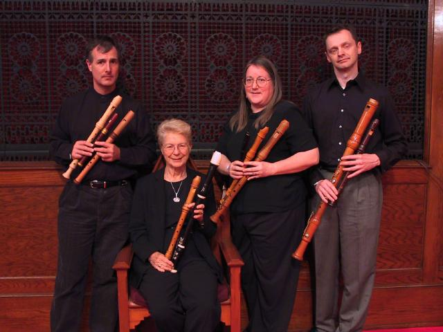 The Wireless Consort members: Lee Lattimore, Sara Funkhouser, Susan Richter, Cornell Kinderknecht [The Wireless Consort Recorder Quartet concert at Christ Episcopal Church - Dallas, TX, March 28, 2004]