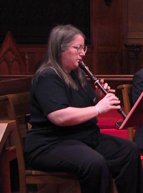 Susan Richter playing the alto recorder [The Wireless Consort Recorder Quartet concert at Christ Episcopal Church - Dallas, TX, March 28, 2004]