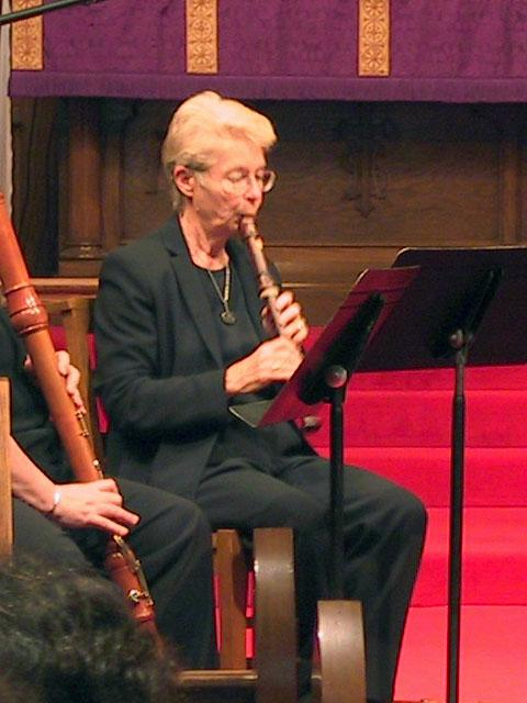 Sara Funkhouser playing the alto recorder [The Wireless Consort Recorder Quartet concert at Christ Episcopal Church - Dallas, TX, March 28, 2004]