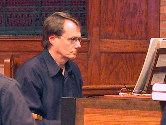 Rene Schmidt playing the harpsichord [The Wireless Consort Recorder Quartet concert at Christ Episcopal Church - Dallas, TX, March 28, 2004]