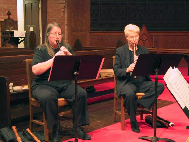 Susan Richter, soprano recorder and Sara Funkhouser, alto recorder [The Wireless Consort Recorder Quartet concert at Christ Episcopal Church - Dallas, TX, March 28, 2004]