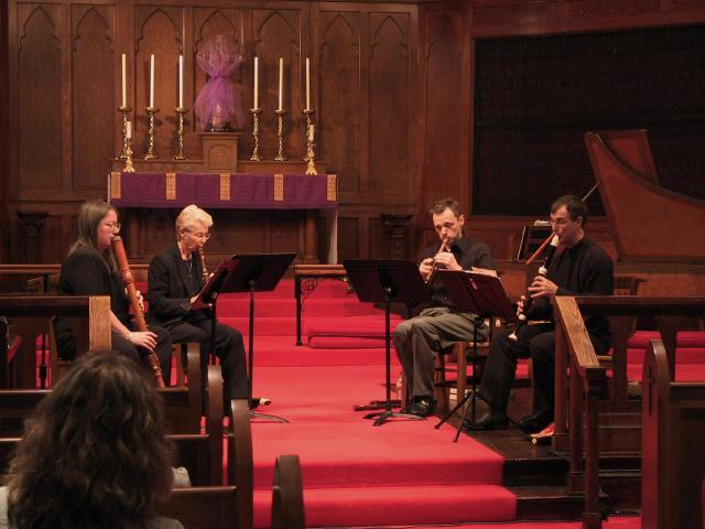 Susan Richter, Sara Funkhouser, Cornell Kinderknecht, Lee Lattimore [The Wireless Consort Recorder Quartet concert at Christ Episcopal Church - Dallas, TX, March 28, 2004]